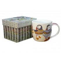 Woolly Puffins Bone China Mug with Gift Box